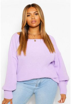 Lilac purple Plus Puff Sleeve Jumper