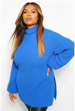 Bright blue Plus Roll Neck Side Split Jumper