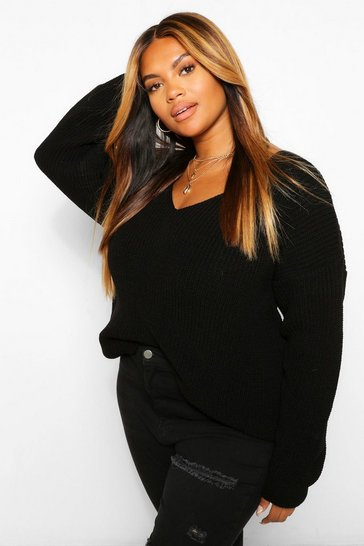 Black Plus V Neck Oversized Jumper