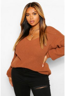 Toffee beige Plus V Neck Oversized Jumper
