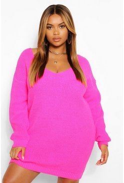 Bright pink pink Plus V Neck Jumper Mini Dress