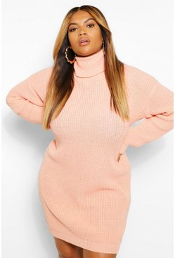 Coral pink Plus Turtleneck Sweater Dress
