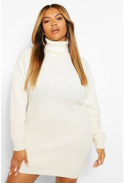 Ecru white Plus Roll Neck Jumper Dress