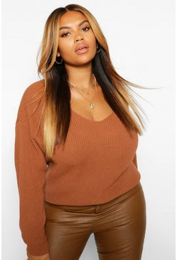 Toffee beige Plus V Neck Jumper