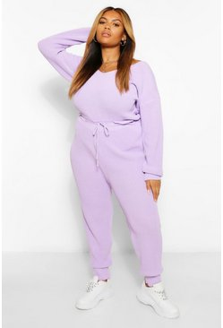 Lilac purple Plus Knitted Jogger