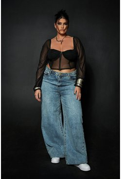 Mid blue Plus Vintage Wash Wide Leg Jean