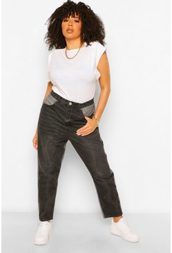 Black Plus Contrast Mom Jeans