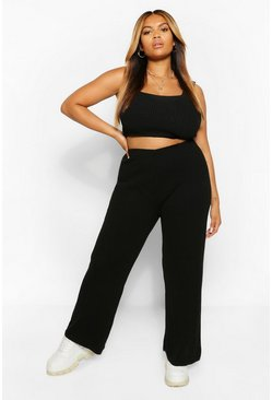 Black Plus Knitted Wide Leg Trouser