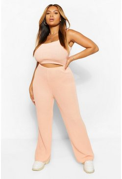 Coral pink Plus Knitted Wide Leg Pants