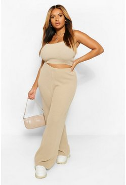 Sand beige Plus Knitted Wide Leg Trouser