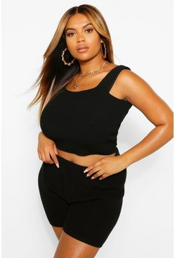 Black Plus Knitted Vest Top
