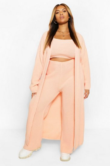 Coral pink Plus Longline Maxi Cardigan