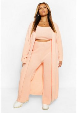 Coral pink Plus Longline Maxi Cardigan