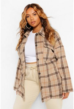 Camel Plus Tonal Check Oversized Boyfriend Shacket