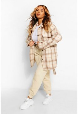 Ivory white Plus Tonal Check Oversized Boyfriend Shacket