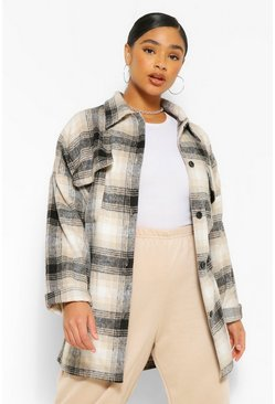 Navy Plus Oversized Boyfriend Check Shacket