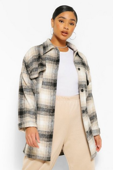 Navy Plus Check Shacket