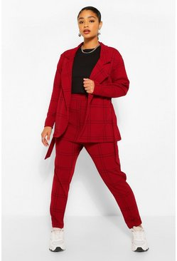 Berry Plus Check Blazer and Trouser Co-ord