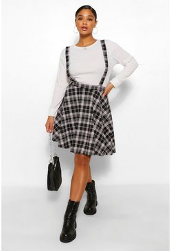 Plus Check Pinafore Skirt, Black noir