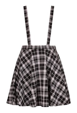 Black Plus Check Pinafore Skirt