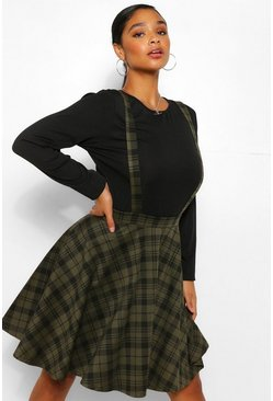 Khaki Plus Check Pinafore Skirt