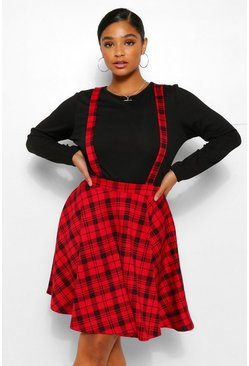 Red Plus Check Pinafore Skirt