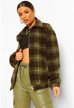 Khaki Plus Teddy Check Oversized Bomber Jacket