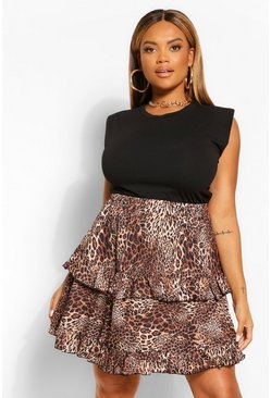 Brown Plus Leopard Print Tiered Skater Mini Skirt