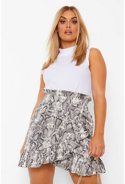 Grey Plus Slangenprint Mini Wikkel Rok Met Ruches