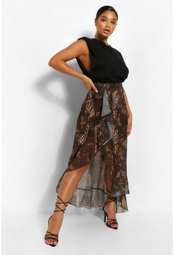 Brown Plus Leopard Print Ruffle Midi Skirt