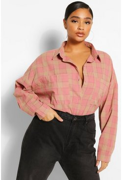 Pink Plus Oversized Boyfriend Check Shirt