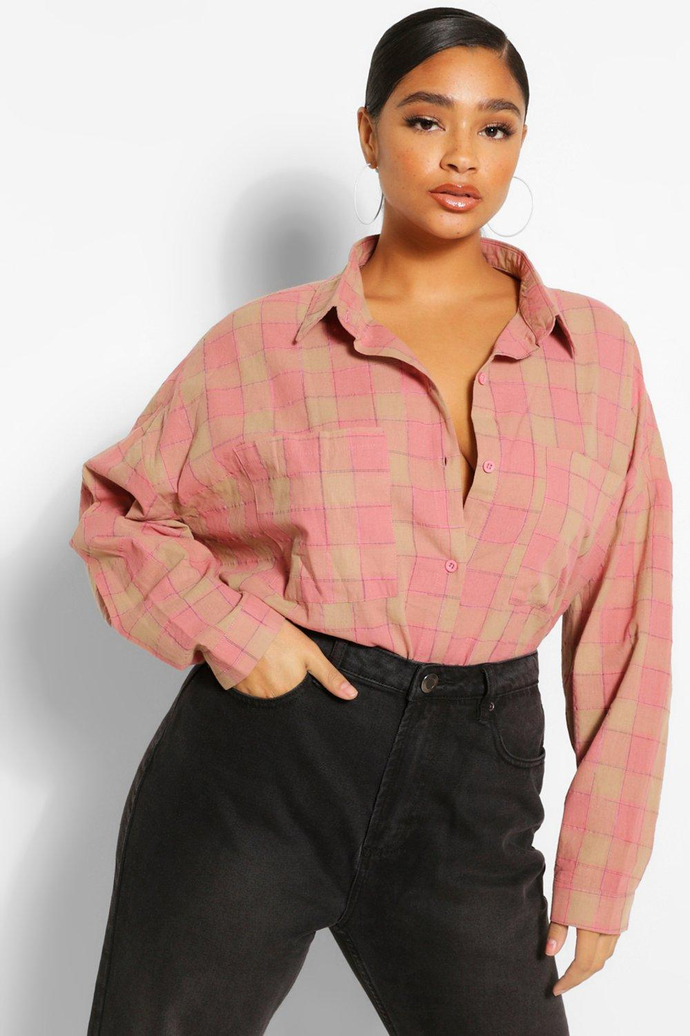 Plus Oversized Boyfriend Check Shirt 17