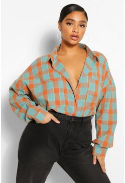 Terracotta orange Plus Oversized Boyfriend Check Shirt