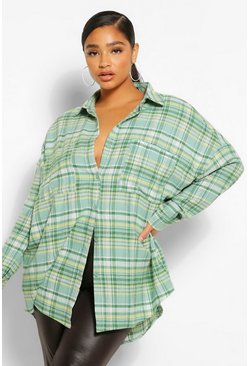 Groen green Plus Oversized Geruite Boyfriend Blouse