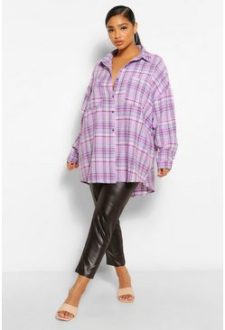 Lilac purple Plus Oversized Boyfriend Check Shirt