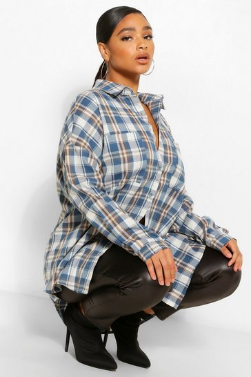 Blue Plus Oversized Boyfriend Check Shirt