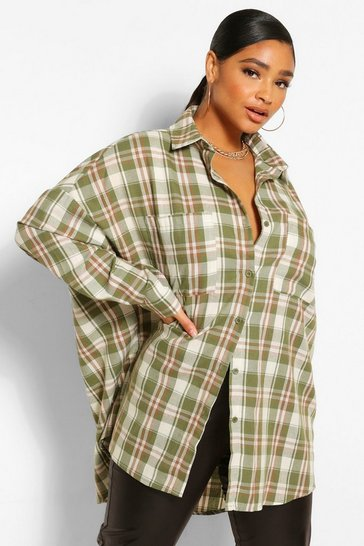Khaki Plus Oversized Boyfriend Check Shirt