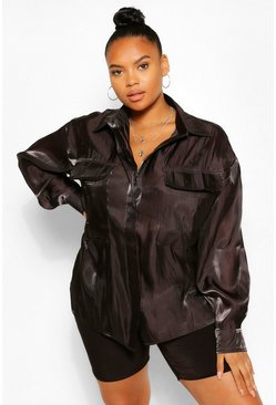 Black Plus Satin Pocket Detail Oversized Shirt