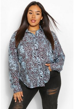 Blue Plus Animal Print Oversized Shirt