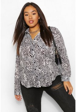 Ivoor white Plus Oversized Dierenprint Blouse