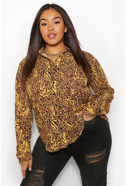 Mustard Plus Animal Print Oversized Shirt