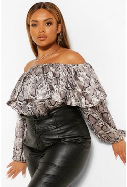 Grey Plus Satin Snake Print Ruffle Off Shoulder Top