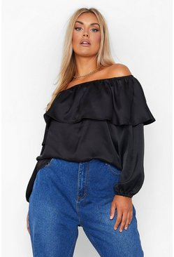 Black Plus Satin Ruffle Off Shoulder Top