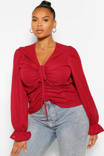 Berry red Plus Ruched Plunge Puff Sleeve Blouse