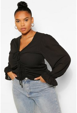 Black Plus Ruched Plunge Puff Sleeve Blouse