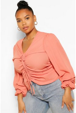 Terracotta Plus Ruched Plunge Puff Sleeve Blouse