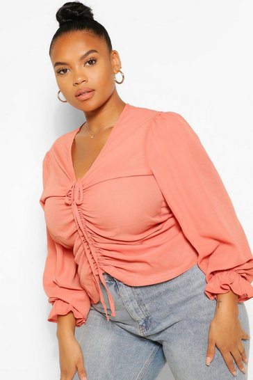 Terracotta orange Plus Ruched Plunge Puff Sleeve Blouse