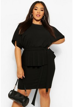 Black Plus Tie Waist Peplum Bodycon Dress