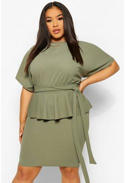 Khaki Plus Tie Waist Peplum Bodycon Dress