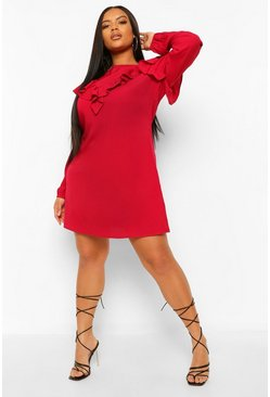 Berry red Plus Ruffle Detail Shift Dress